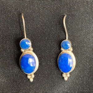 Vintage Lapis Lazuli & Silver Dangle Drop Earrings